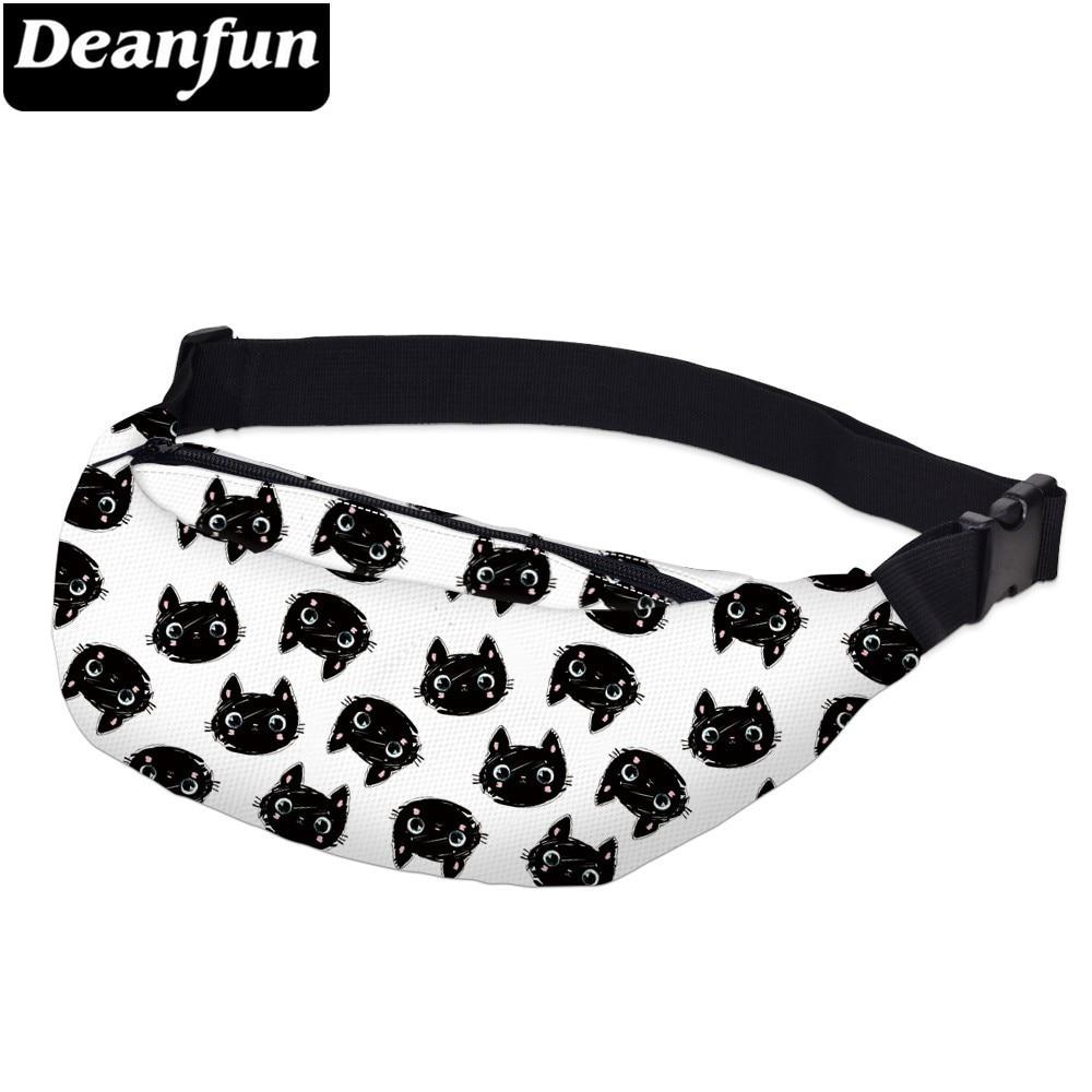Deanfun Printing Little Black Cat Men Fanny Packs Waterproof White Waist Pack Man Shoulder Bag For Phone  YB-60