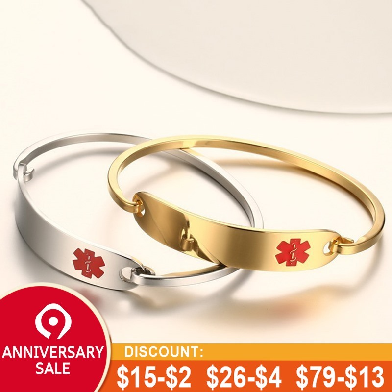 Vnox Freies Gravur Edelstahl Medical Alert ID Armreif Personalisierte Armband für Männer Frauen Silber/Gold Farbe 2,36