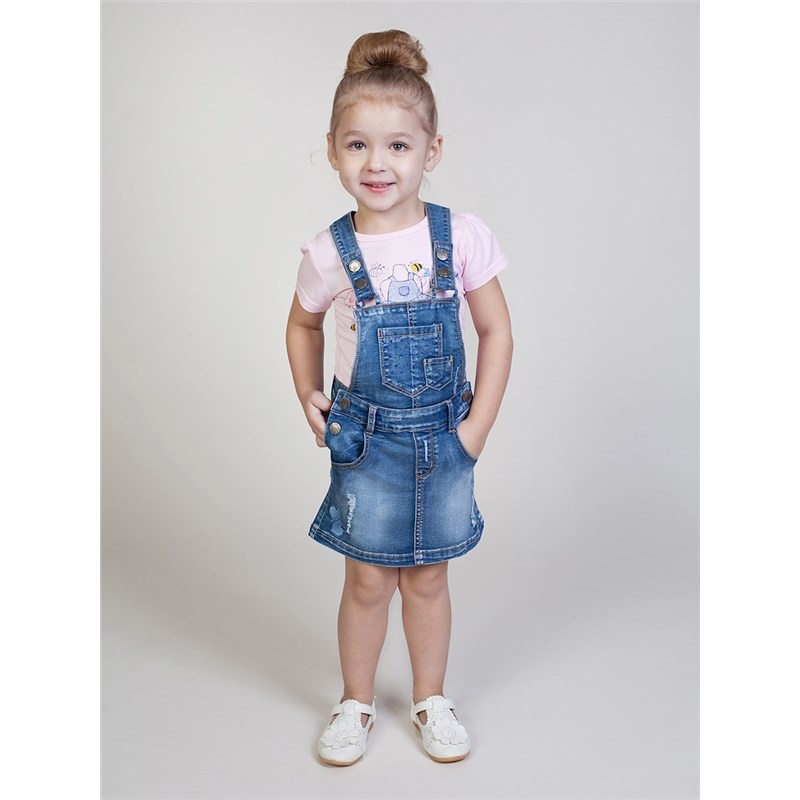 Overalls Sweet Berry Denim dress for girls kid clothes raw hem ripped button front denim overalls