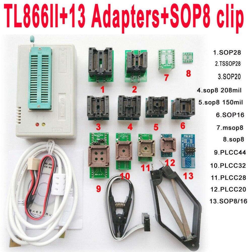 USB TL866II programmateur + 13 pièces adaptateurs IC Clip 1.8 V nand flash 24 93 25 mcu Bios EPROM SOP8 PLCC