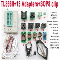 USB TL866II programmer + 13PCS adapters IC Clip 1.8V nand flash 24 93 25 mcu Bios EPROM SOP8 PLCC
