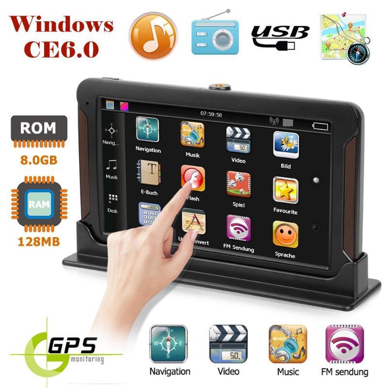VODOOL 7 pouces HD Voiture navigation GPS écran Capacitif FM 8 GB camion GPS navigateur de voiture Europe Sat nav Carte à Vie