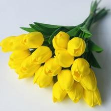 20 branchTulip Artificial Flowers Home Decoration Wedding Tulip Pu Mini Bouquet Simulation Cross-Border