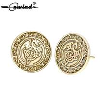 Viking Dragon Runes Stud Earring for Women Girls Men Punk Earrings Fashion Round Disc Retro Bronze Animal brincos Jewelry Gift(China)