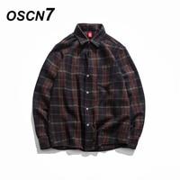 OSCN7 Fall Retro Japanese Streetwear Woolen Plaid Thick Long Sleeve Shirt Men Brand Clothing Fashion Casual Check Shirt Men MC01