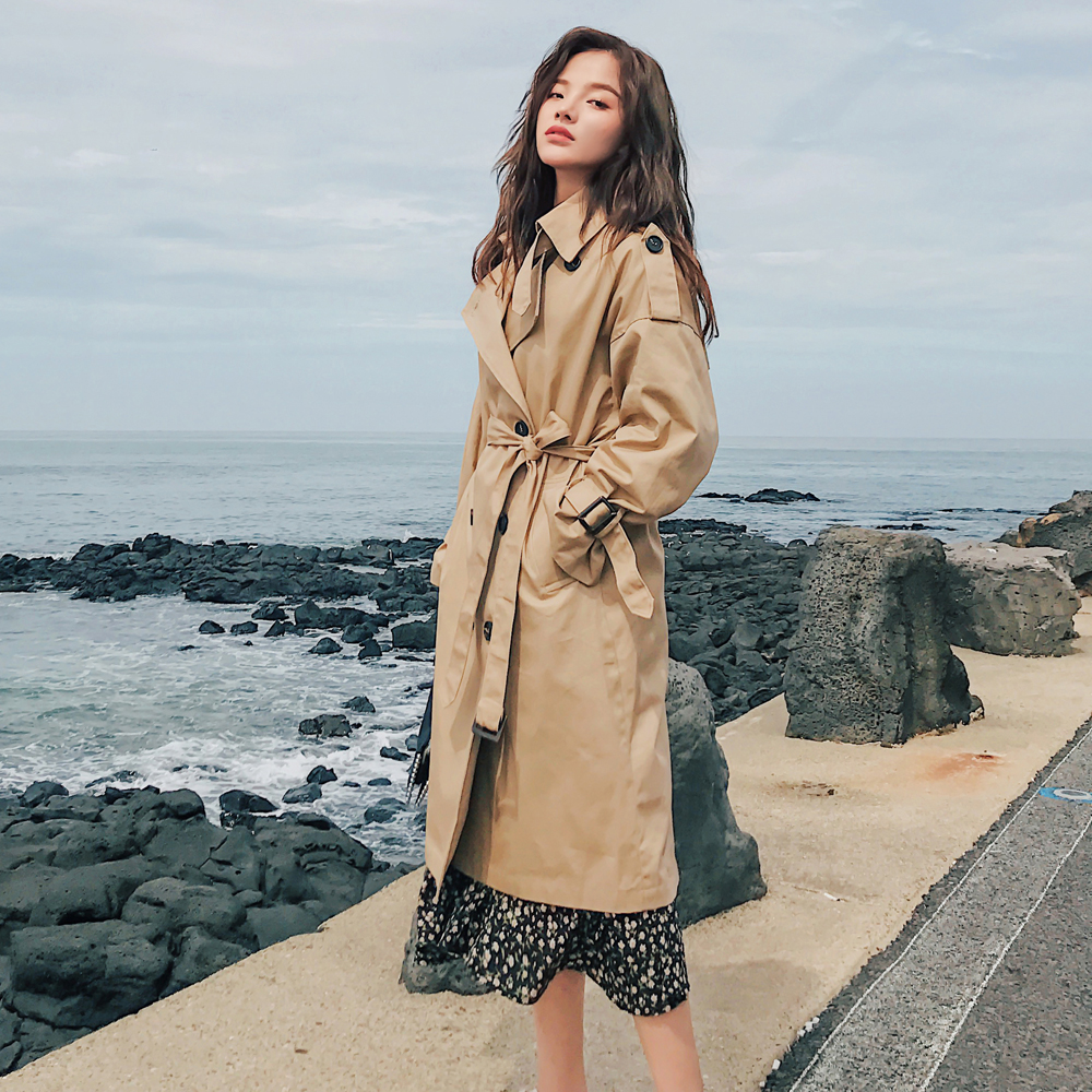 Spring Outerwear Trench-Coat Long-Double-Breasted-Belt Oversize-Quality Khaki Autumn title=