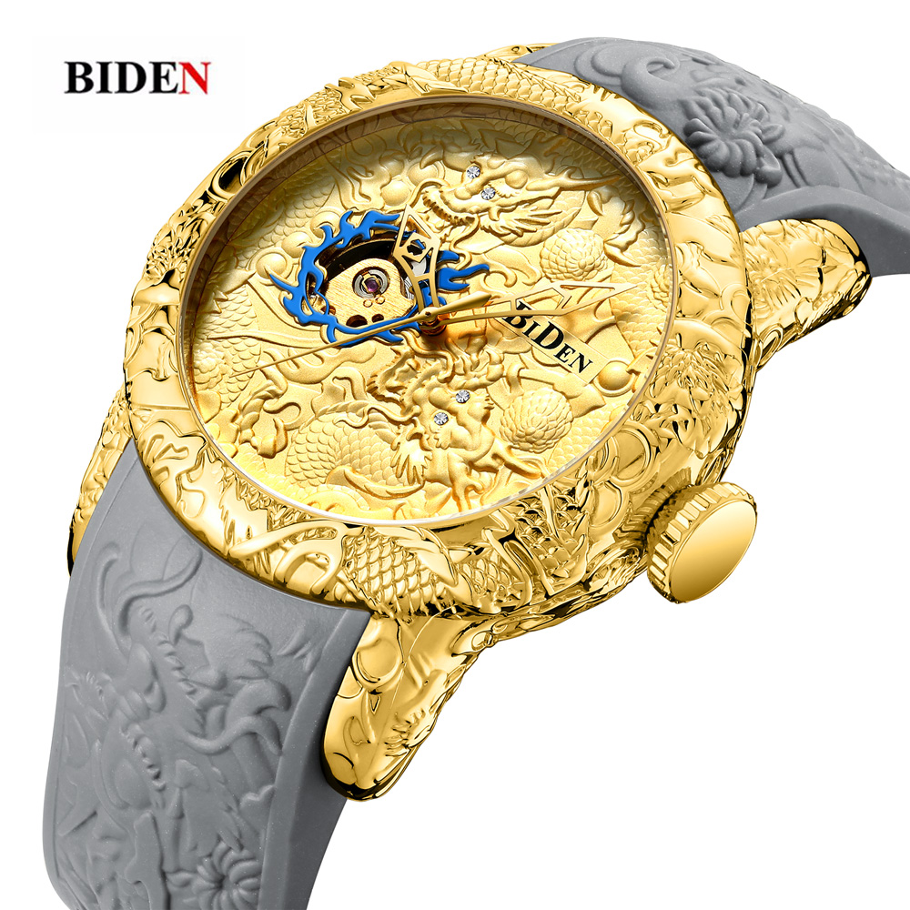 Watches Men Top Band Luxury Mechanical Automatic Self-wind Gold Dragon Dial Watch Waterproof Rubber Band Male Wristwatch Clock new korean watch men band luxury male watches automatic self wind mechanical wristwatches belt strap waterproof tourbill 8502