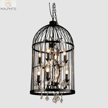 vintage restaurant bird cage crystal chandelier lighting Home Deco E14 LED candelabro Rust Iron industrial deco lighting fixture картина summer home deco