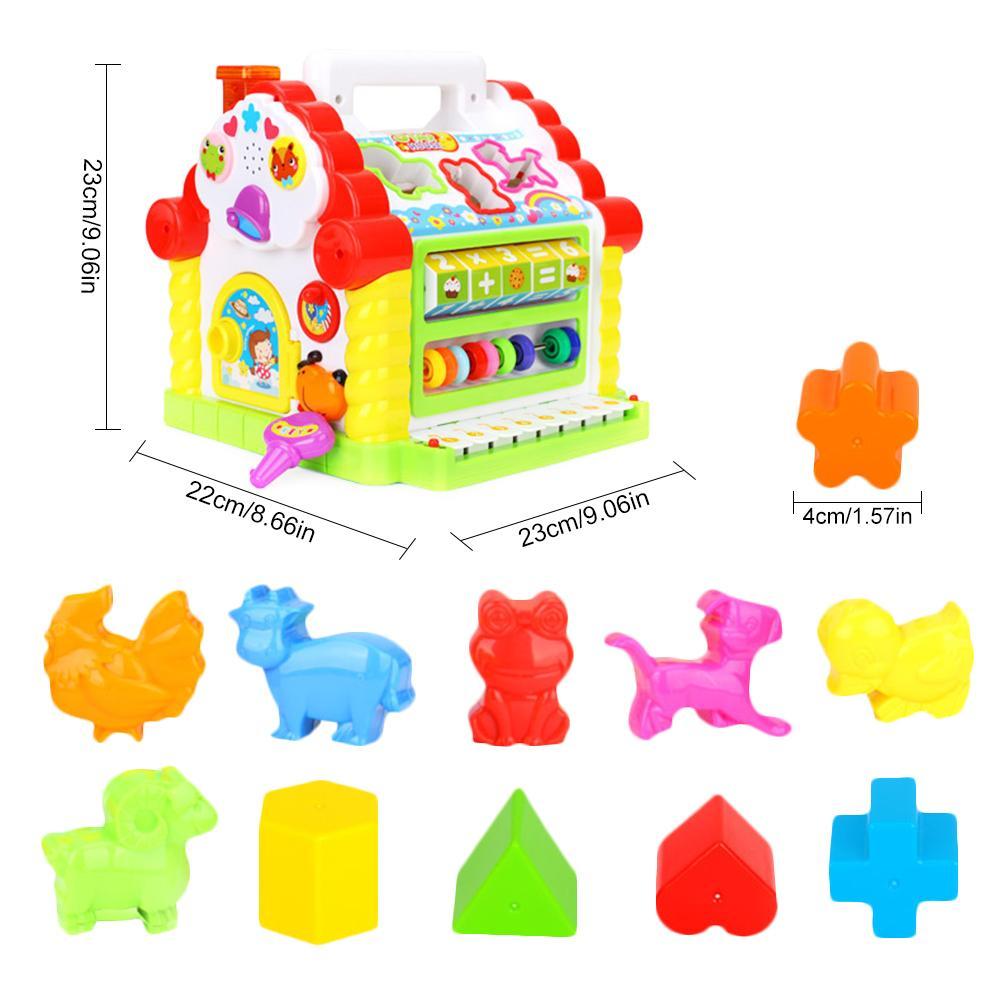 Cube d'activité avec perle labyrinthe drôle maison jouer jouet début d'apprentissage Puzzle cognitif jouet blocs de construction clavier Playset pour bébé - 2