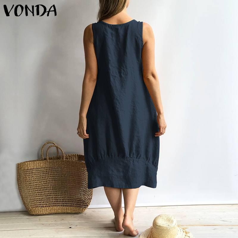 VONDA Women Vintage Cotton Dress 2019 Summer Sexy Sleeveless Square Neck Solid Tank Dresses Casual Loose Vestidos Oversized