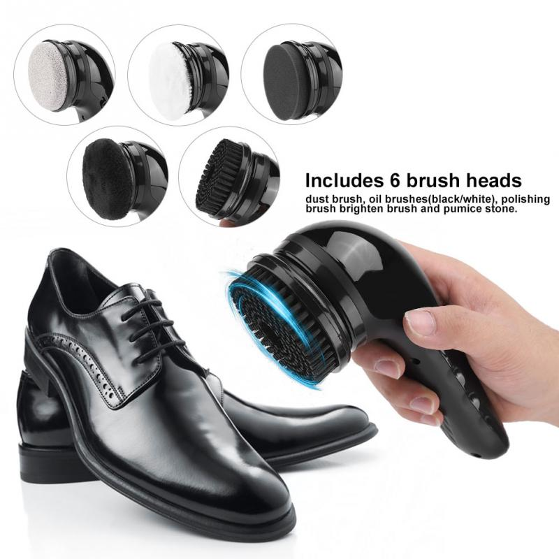 NicKimi Portable Handheld Automatic Electric Shoe Brush Shine Polisher for Leather Bags Car Seat Cleaning Set Battery Power Supply