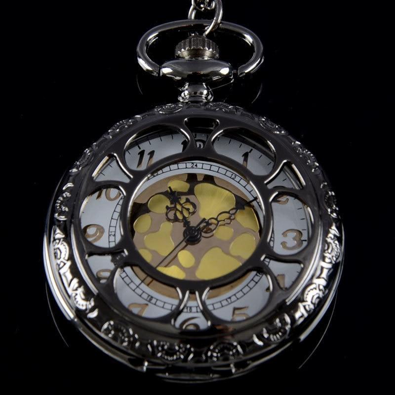 Bronze Black  Palindrome Harmony Full Hunter Quartz Engraved Fob Retro Pendant Pocket Watch Chain Gift Fire Fighter Theme