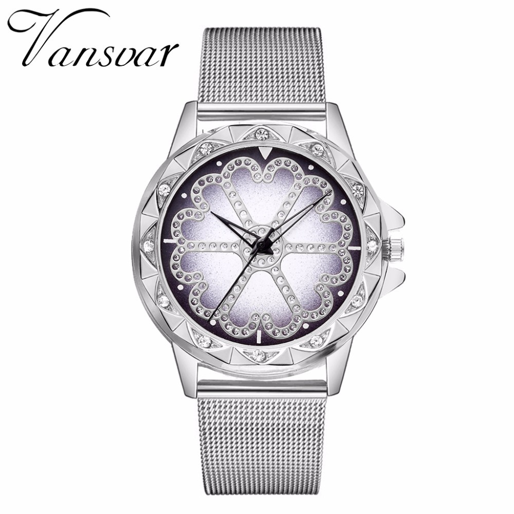 Hot Fashion Women Flower Rhinestone Wrist Watch Luxury Casual Rose Gold Steel Quartz Watch Relogio Feminino Drop Shipping  4