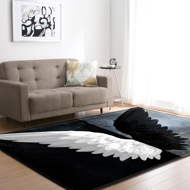 Noir et blanc ange ailes motif tapis pour salon table basse tapis moderne chambre décor tapete maison tapis et tapis