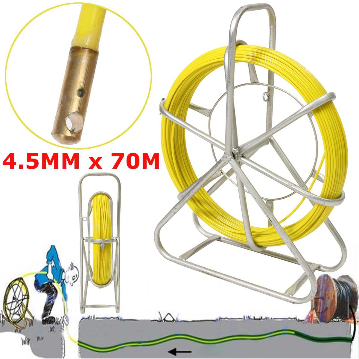 Electric Reel Wire Cable Running Rod Duct Rodder Fish Tape Puller used for Telecom, Wall and Floor Conduit 4.5mm 70MElectric Reel Wire Cable Running Rod Duct Rodder Fish Tape Puller used for Telecom, Wall and Floor Conduit 4.5mm 70M
