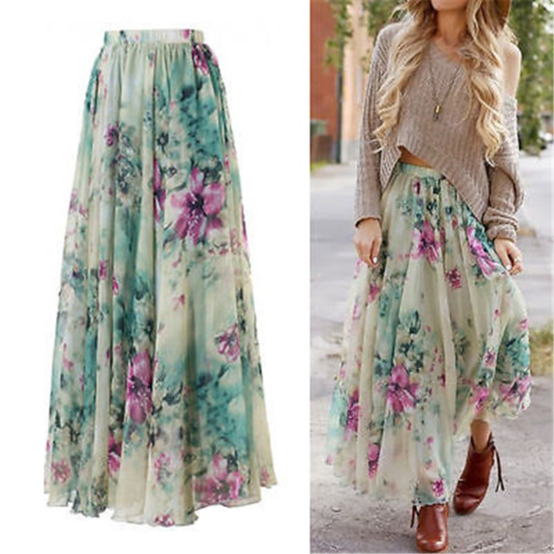 New Boho Women Flower Long Skirt Full Summer Beach Sunny Skirts Floral Chiffon Ruched Tutu Skirt Summer Clothing