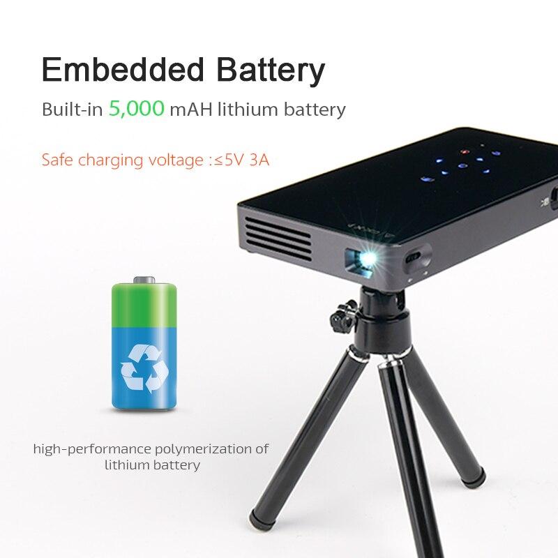 AUN projecteur intelligent D5S, Android 7.1 (En Option 2G + 32G) WIFI, Bluetooth, Batterie, HDMI, mini projecteur portable, 3D Beamer - 4
