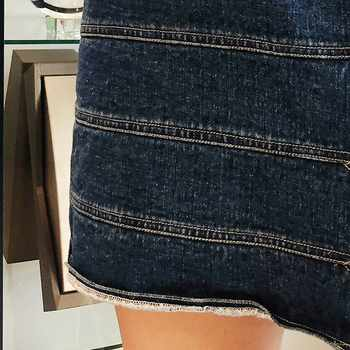 TWOTWINSTYLE Denim Short Skirts Female High Waist Hollow Out Buttons Mini Women\'s Skirt Casual Fashion Clothes 2019 Spring