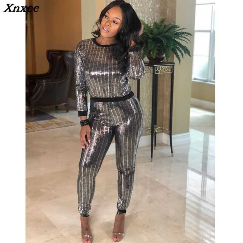silver sequin glitter casual 2 piece set women autumn winter long sleeve womens clothing two piece set top and pants plus size in Women 39 s Sets from Women 39 s Clothing