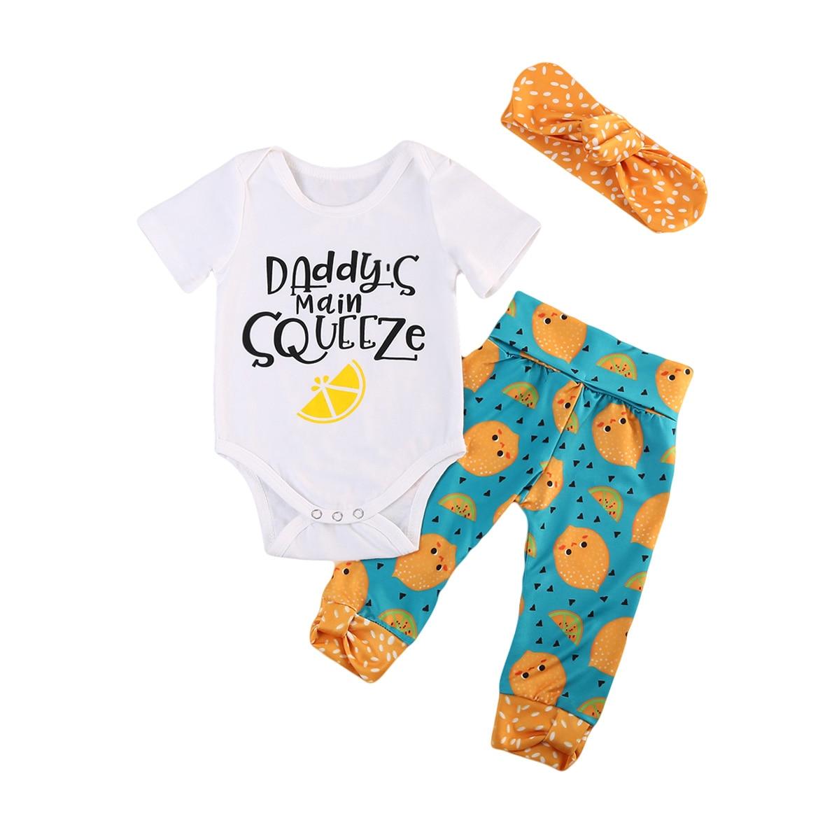 0-24 Mt Neugeborenen Baby Mädchen Kurzarm Papa Romper Lange Zitrone Hosen Leggings Outfits Set Kleidung
