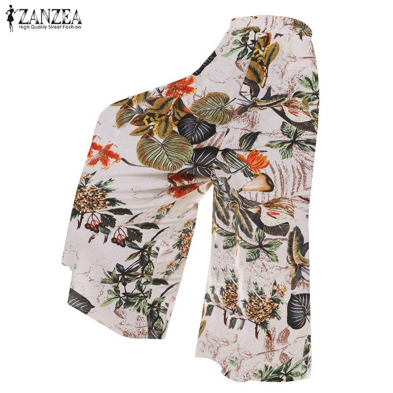 ZANZEA Spring Women Casual   Wide     Leg     Pants   Vintage Elastic Waist Floral Printed Female Cotton Linen Pantalon Plus Size Trousers