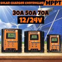 30A/50A/70A 12V/24V Intelligent Solar Panel Battery Charge Controller PWM LCD Display Solar Collector Regulator Dual USB Output