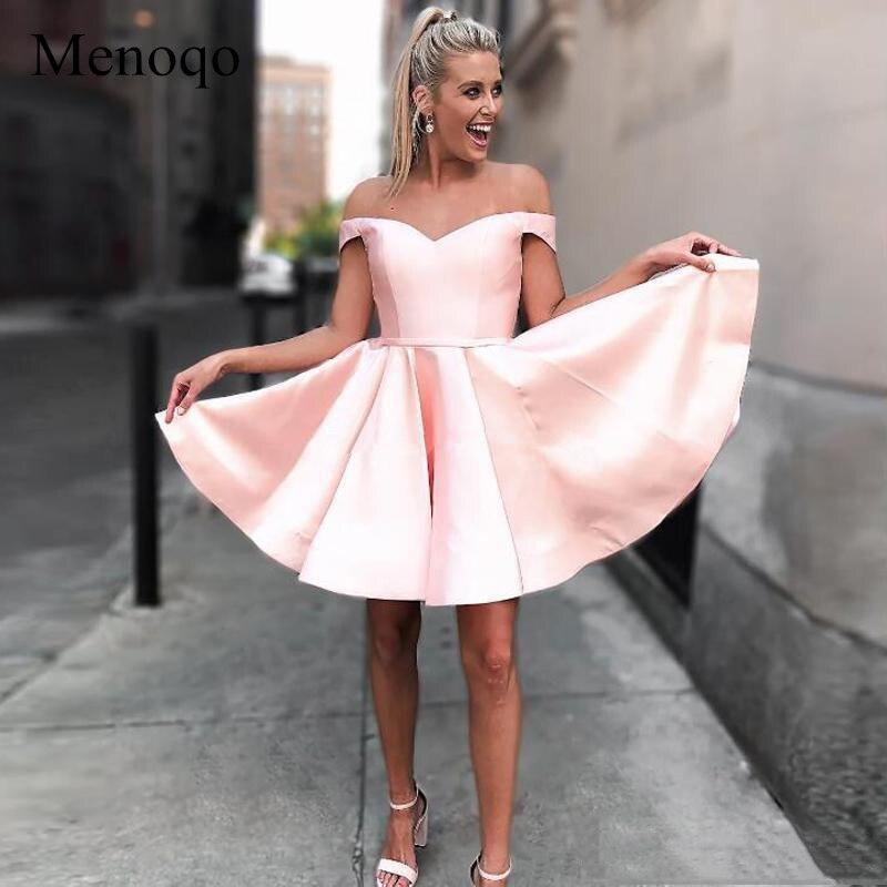 Menoqo Pink or Red Cocktail Dresses 2019 Off The Shoulder Satin Custom Made Bandage Elegant Prom Party Dresses Short