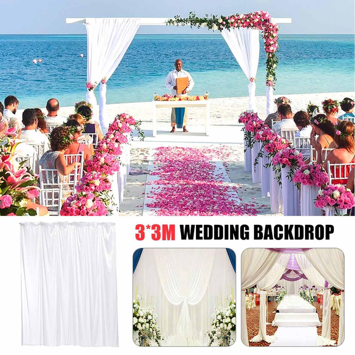3x3m White Elegant Wedding Backdrop Curtain Drape Wedding Supplies Simple Curtain Drapes Background For Party Event3x3m White Elegant Wedding Backdrop Curtain Drape Wedding Supplies Simple Curtain Drapes Background For Party Event