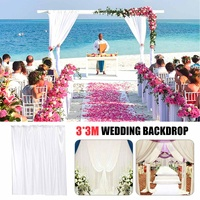 3x3m White Elegant Wedding Backdrop Curtain Drape Wedding Supplies Simple Curtain Drapes Background For Party Event