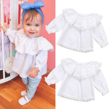 PUDCOCO Newborn Baby Girls Lace Off Shoulder Long Sleeve Tops T-shirt Blouse Clothes off the shoulder lace sleeve blouse