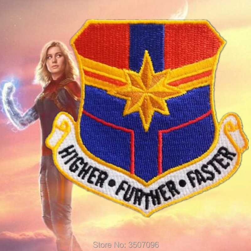 Captain Marvel Higher Further Faster Flightsuit Patch Cosplay Costume Sticker
