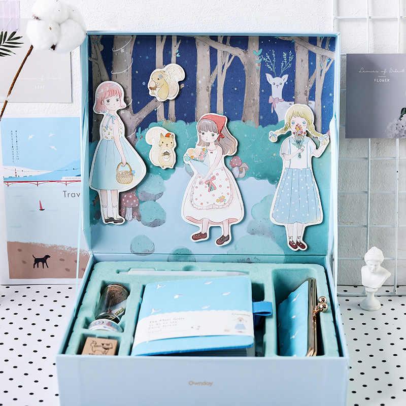 Conto de Fadas caixa De presente de capa dura Requintado arte da ilustração Diário planejador Cronograma notepad Material escolar para a Menina