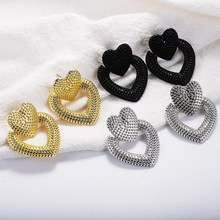 Korean Fashion Gold Sliver Big Hollow Love Heart Dangle Earrings Star Simple Statement Long Drop