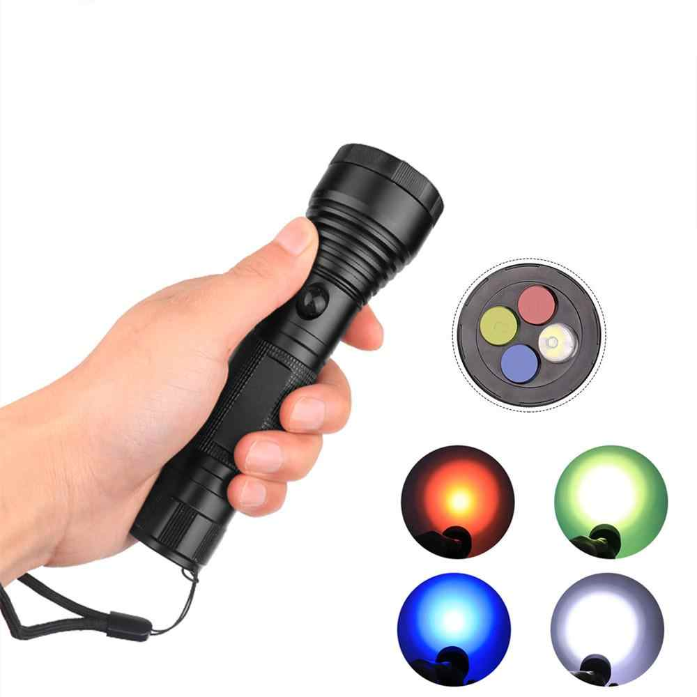 High Powerful LED Flashlight 4 Colors XPE LED Torch Outdoor Camping Emergency Signal Light Lamp 18650 Battery Flashlight