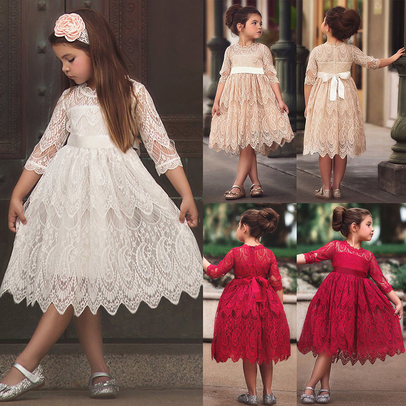 9448714d63d29 Worldwide delivery bridesmaid dresses girls children with sleeves in ...