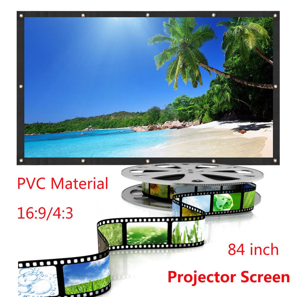 Rolled Up 84/100 Inch Projector Screen 16:9 HD Portable Home Cinema Outdoor Projection LED Projector Screen For Home TheaterRolled Up 84/100 Inch Projector Screen 16:9 HD Portable Home Cinema Outdoor Projection LED Projector Screen For Home Theater
