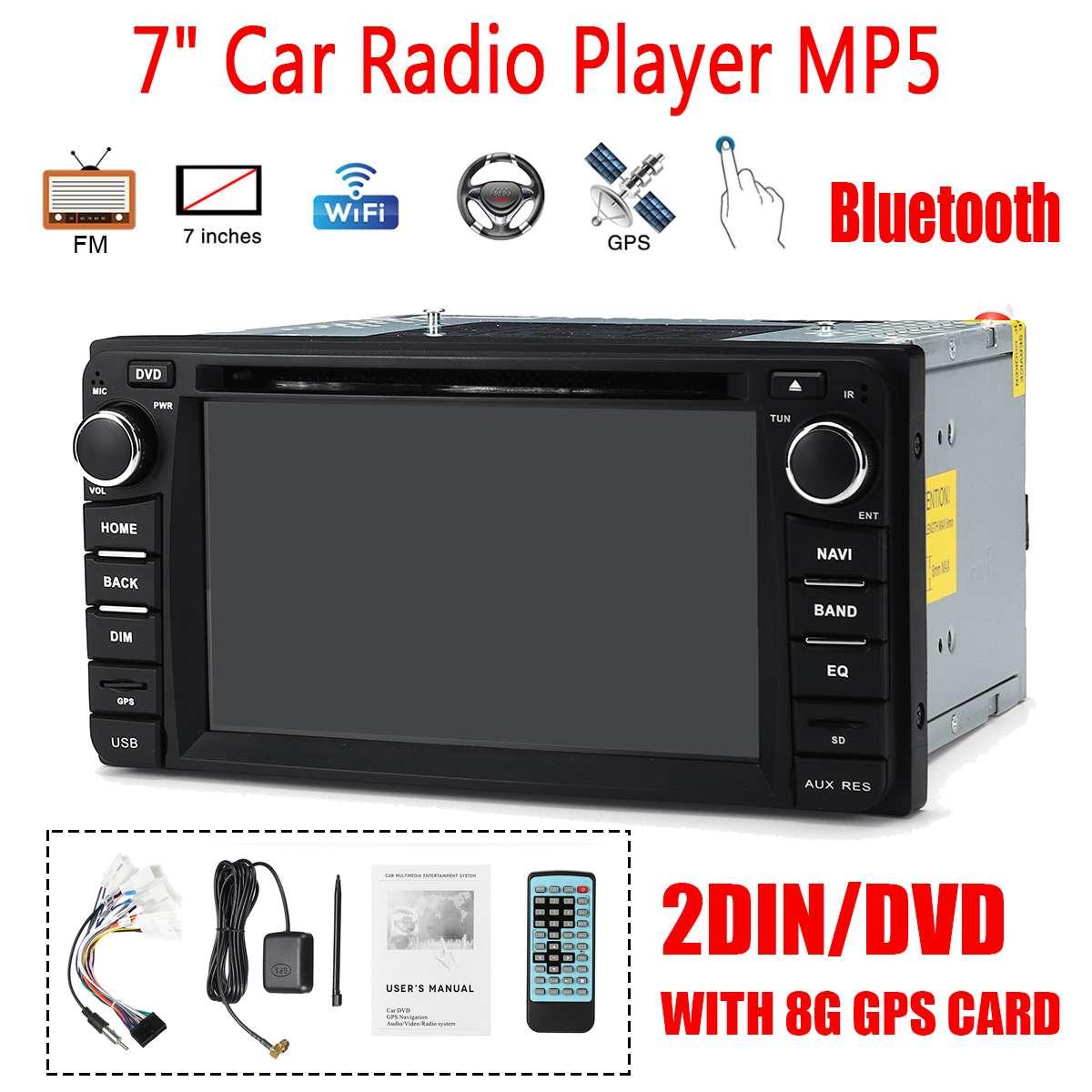 7 pouces 2 DIN 8G GPS carte bluetooth WiFi FM DVD autoradio MP5 lecteur DVD CD écran tactile pour Toyota voiture lecteur multimédia