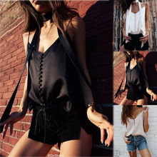 цена на Women Sexy Casual Tank Top Ladies V Neck Chiffon Sleeveless Summer Top Loose Pure Button Tank Cami Female Clothing