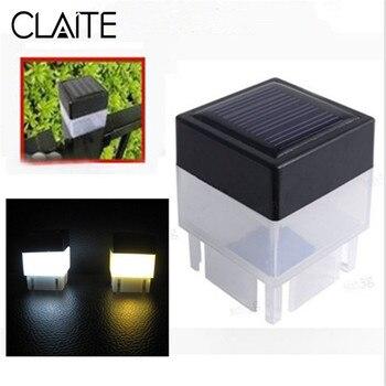 Luz de valla con energía Solar CLAITE, luz de calle exterior impermeable, lámpara LED con tapa de poste, luces de emergencia cuadradas de Lámpara de piscina de jardín