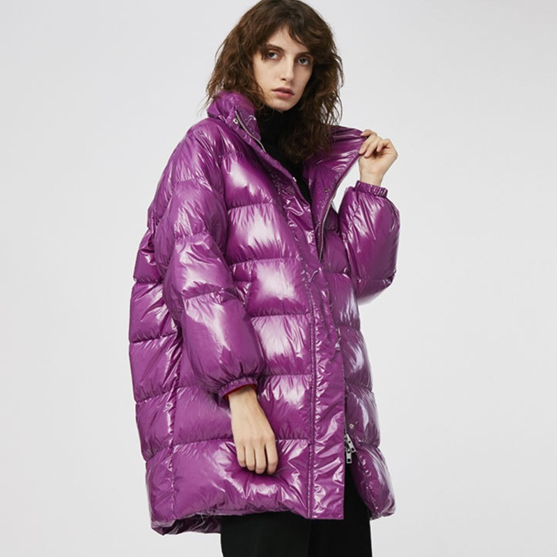 Purple Loose   Down   Jacket Fashion Thin Thick Winter Feather Jacket   Coat   Women Long Section Collar Casual Warm Overcoat Female 260