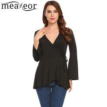 Meaneor Flare Sleeve Women Shirts Fashion Wrap V-Neck Long Autumn T-Shirts Solid Peplum Tops Causal Female T-Shirt