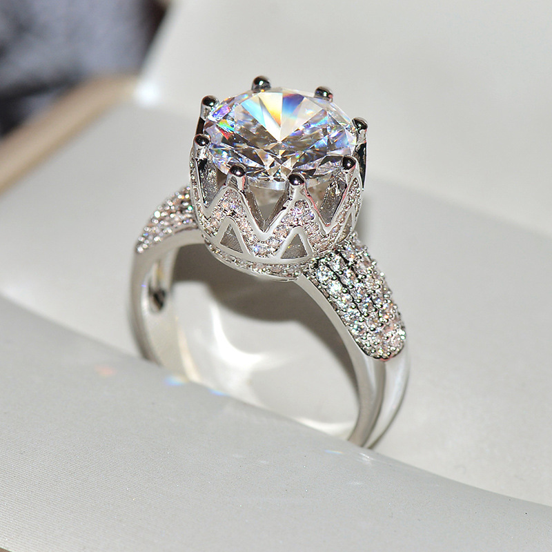 925 Sterling Silver Crown Rings With Big Zircon STone for Women Wedding Engagement Ring Fashion Jewelry in Rings from Jewelry Accessories