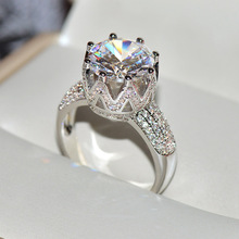 925 Sterling Silver Crown Rings With Big Zircon STone for Women Wedding Engagement Ring Fashion Jewelry недорого