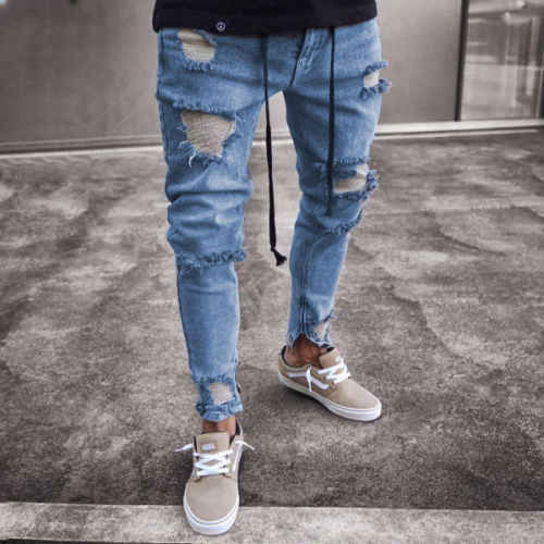 ออกแบบใหม่ Slim Fit Ripped กางเกงยีนส์ผู้ชาย High Street Mens Distressed Denim Joggers เข่าหลุมซิปล้างทำลายกางเกงยีนส์ดินสอ