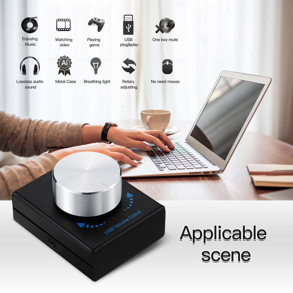 USB Volume Control Computer Speaker Audio Volume Controller Adjuster With One Key Mute Function