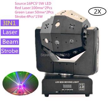 2 ชิ้น/ล็อต 16x3 W ไฟ LED Strobe & Beam & เลเซอร์ 3IN1 Professional DMX512 Stage Effect สำหรับบาร์ DJ Disco แสดง