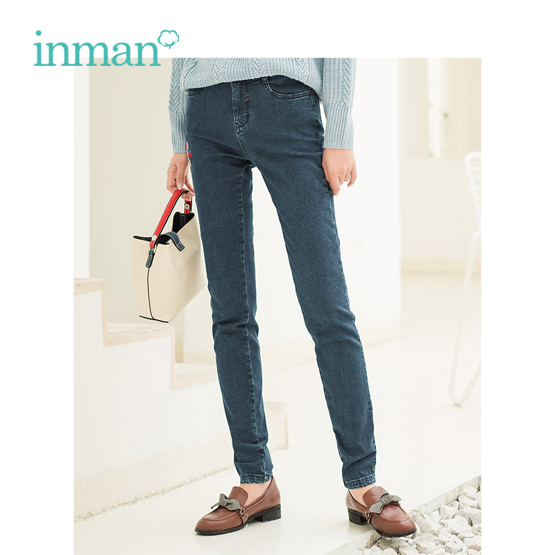 INMAN Winter Retro Artistic Causal Style Embroidery Warm Jeans Pants