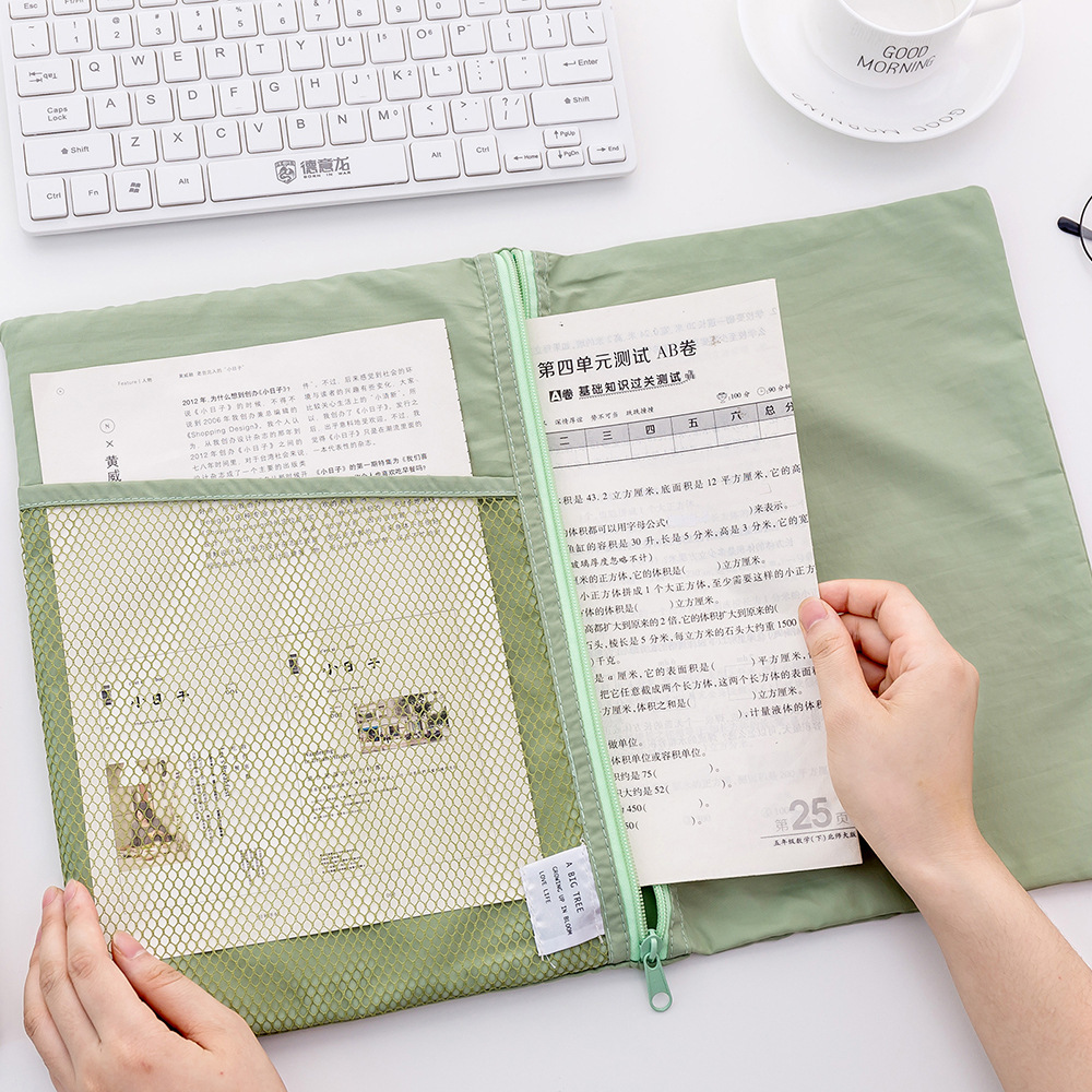 A4 More Function Grid Foldable File Bag Pencil Bag Data Archives Accept Bag Office Stationery Supplies