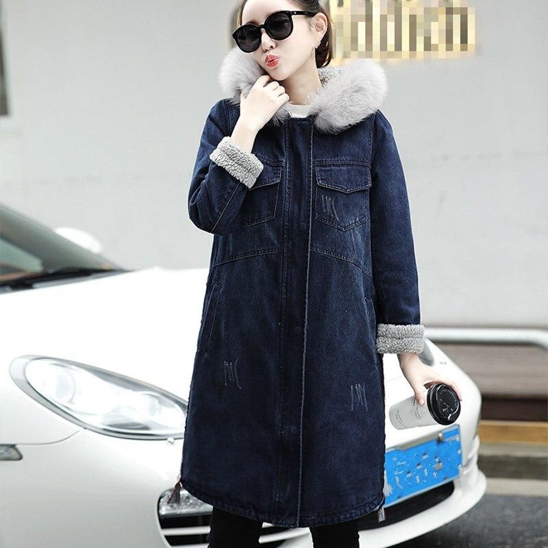 Femmes Manches Outwear Chaud Jeans En Poches Longues Manteau Jean Automne Denim Épais Laine Hiver D'agneau Bleu Large 2018 fqwaEz