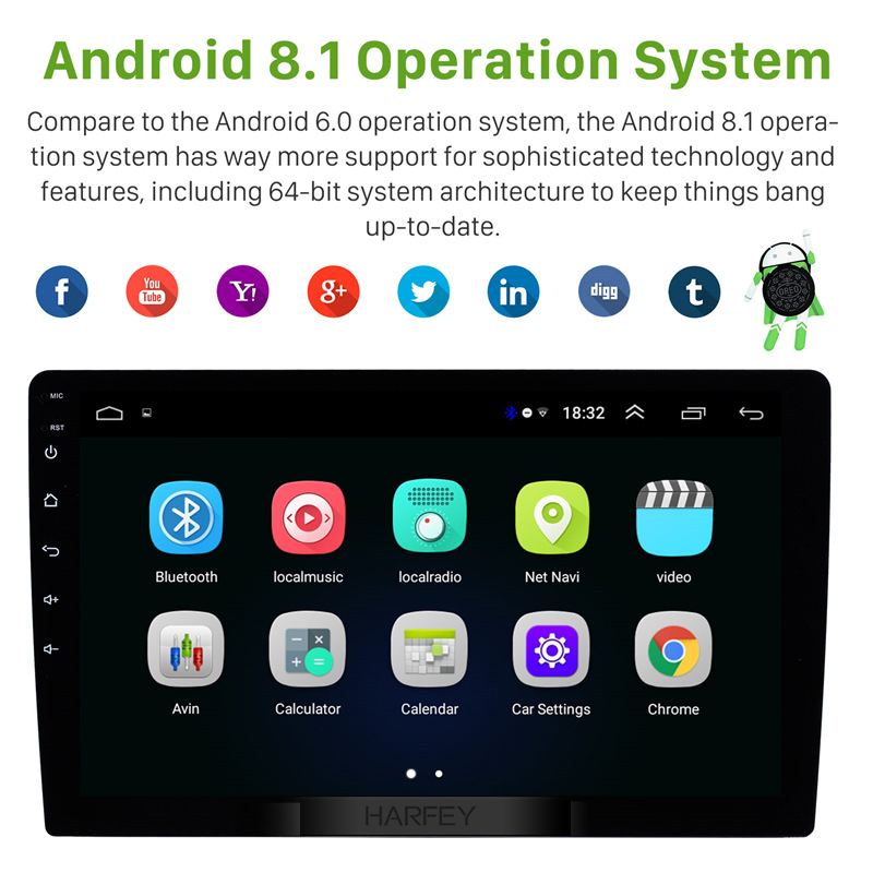 Image 3 - Harfey 2Din 9 inch Android 8.1 Universal GPS Navi Car Multimedia Player HD 1024*600 Support Mirror Link SWC DVR Rear camera-in Car Multimedia Player from Automobiles & Motorcycles